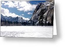 Yosemite Meadow In Winter Greeting Card