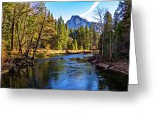 Yosemite Merced River With Half Dome Greeting Card