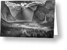 Yosemite Morning Sun Rays Greeting Card