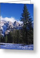 Yosemite Three Brothers In Winter Greeting Card