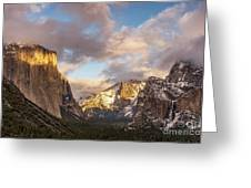 Yosemite Tunnel View Sunset In Winter Greeting Card