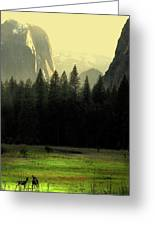 Yosemite Valley Golden . Vertical Greeting Card by Wingsdomain Art and Photography