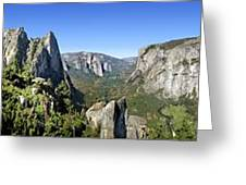 Yosemite Valley Panorama From Union And Glacier Points Greeting Card
