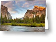 Yosemite Valley View Greeting Card by Buck Forester