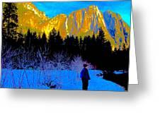 Yosemite Valley Winter Walk Greeting Card