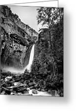 Yosemite Waterfall Bw Greeting Card