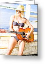 Young Attractive Blonde Woman Playing Guitar Greeting Card
