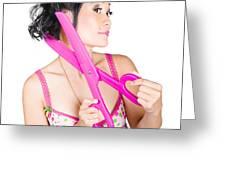 Young Beautiful Woman Cutting Hair At Beauty Salon Greeting Card
