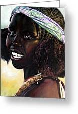 Young Black African Girl Greeting Card