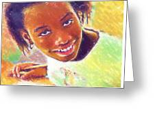 Young Black Female Teen 5 Greeting Card