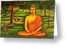 Young Buddha Meditating In The Forest Greeting Card
