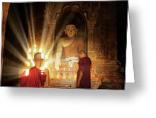Young Buddhist Monk Are Reading With Sun Light Greeting Card