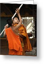 Young Buddhist Monks Laos Greeting Card
