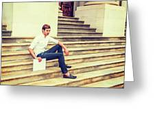 Young Businessman Sitting On Stairs, Relaxing Outside Greeting Card