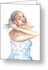 Young Cameroun Woman Tying Her Hair Greeting Card