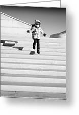 Young Child Jumping Down Steps Greeting Card