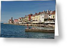 Young Couple Fishing Reading Sunbathing On Dock At Piran Sloveni Greeting Card