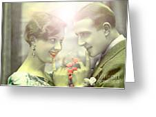 Young Couple Flirting Greeting Card