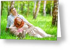 Young Couple In The Park Greeting Card