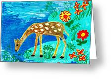 Young Deer Drinking Greeting Card