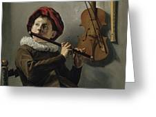 Young Flute Player , Judith Leyster, 1630 Greeting Card