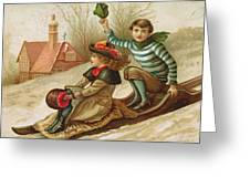 Young Girl And Boy Tobogganing, Victorian Christmas And New Year Card Greeting Card