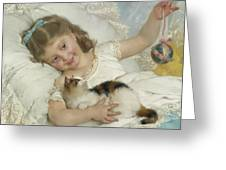 Young Girl And Cat Greeting Card