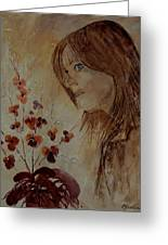 Young Girl And Flowers  Greeting Card