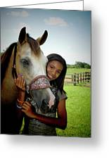 Young Girl And Her Horse Greeting Card