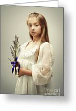 Young Girl Holding Lavender Greeting Card