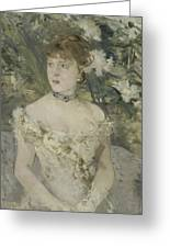Young Girl In A Ball Gown By Berthe Morisot Greeting Card