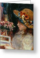 Young Girl Reading Greeting Card by Pierre Auguste Renoir