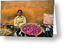 Young Girl Selling Rose Petals In The Medina Of Fes Morroco Greeting Card