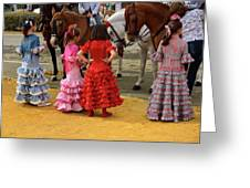 Young Girls In Flamenco Dresses Looking At Horses At The April F Greeting Card