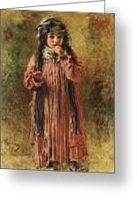 Young Gypsy By Konstantin Makovsky Greeting Card