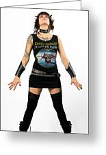 Young Heavy Metal Female Punk Fan Standing Tall With Horns Pierc Greeting Card