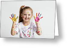 Young Kid Showing Her Colorful Hands Greeting Card