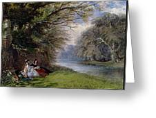 Young Ladies By A River Greeting Card