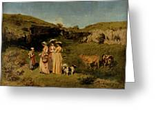 Young Ladies Of The Village By Gustave Courbet, 1851-1852 Greeting Card