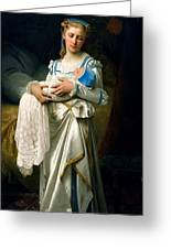 Young Lady And The Baby Greeting Card