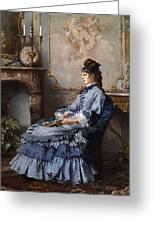 Young Lady At The Fireplace Greeting Card