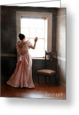 Young Lady In Pink Gown Looking Out Window Greeting Card