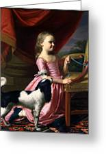Young Lady With A Bird And A Dog Greeting Card