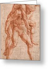 Young Man Carrying An Old Man On His Back Greeting Card