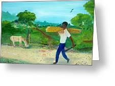 Young Man Carrying Sugarcane Greeting Card