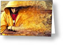 Young Man In Hooded Sweatshirt On Grunge Wall Greeting Card