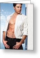 Young Man In Unbuttoned Shirt Greeting Card