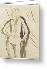 Young Man Standing Face Greeting Card