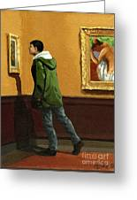 Young Man Viewing Art - Painting Greeting Card