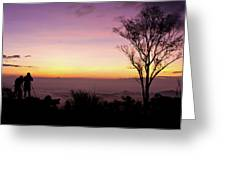 Young Men Silhouette Taking Photos About Landscape Outdoor  Greeting Card